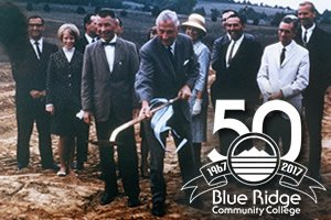 1966 BRCC ground breaking (foreground left to right) Dr. Douglas M. Montgomery, President of Blue Ridge Community College, 1967-69 and Malcolm G. Jones (with shovel)