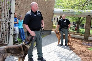K-9 Handlers Chris Pultz and Kenny Randozzo and their dogs, Blaez and Joe