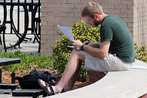 Student working outside Technology Center
