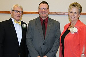 "Travis J. ""Ty"" Tysinger and Debra Stiles Callison with Dr. John Downey (center)"