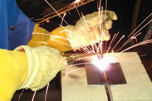 Student in BRCC's Welding Facility