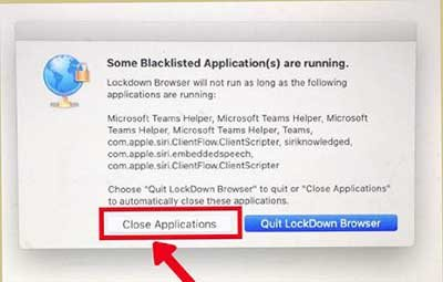 Respondus prompt to close blacklisted applications screenshot