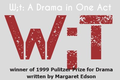 Wit: A drama in one act, winner of 1999 Pulitzer Prize for Drama, written by Margaret Edson