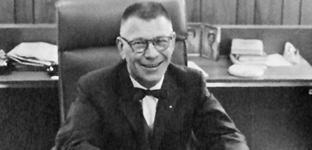Dr. Douglas Montgomery in his office, 1968 yearbook photo