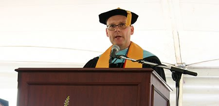 Dr. John Downey speaks at his inauguration ceremony in 2010.