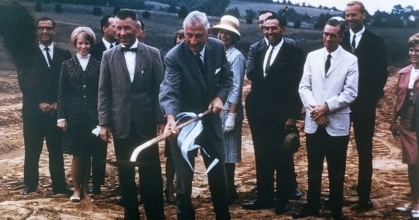 Ground breaking (foreground left to right) Dr. Douglas M. Montgomery, President of Blue Ridge Community College, 1967-69 and Malcolm G. Jones (with shovel)
