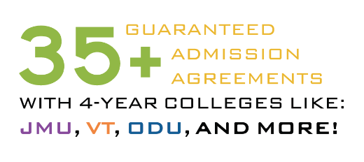 35+ guaranteed admission agreements with 4-year colleges like: JMU, VT, ODU, and more!