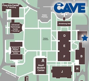 campus map showing location of CAVE in Building A