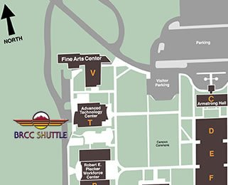 Map showing Shuttle Stop