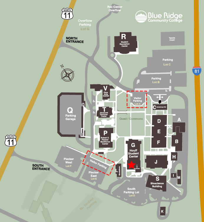 Weyers Cave campus map showing visitor parking and tour starting point