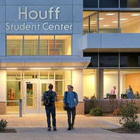 Houff Student Center entrance and students