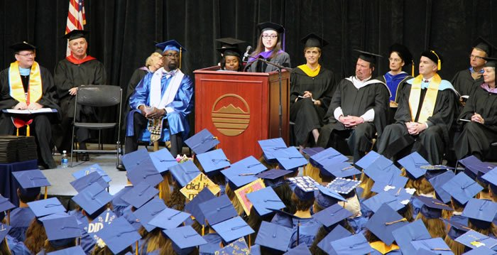 Ms. Holly Rasheed, a 2011 BRCC graduate, and currently the youngest attorney in Virginia, delivers commencement address