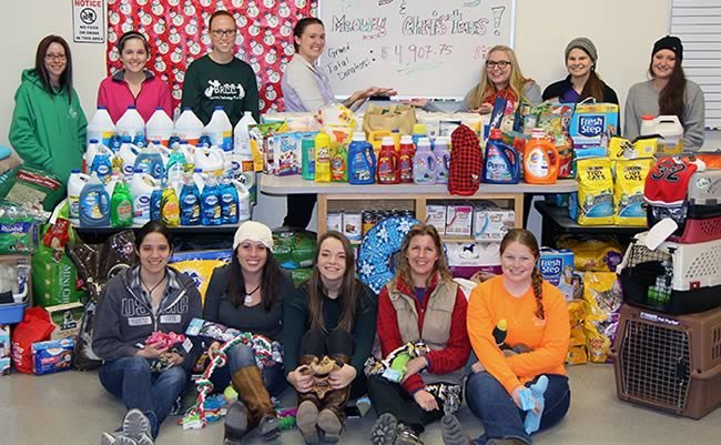 Veterinary Technology Club with Animal Angel Tree items for Shenandoah Valley Animal Service Center (SVASC)