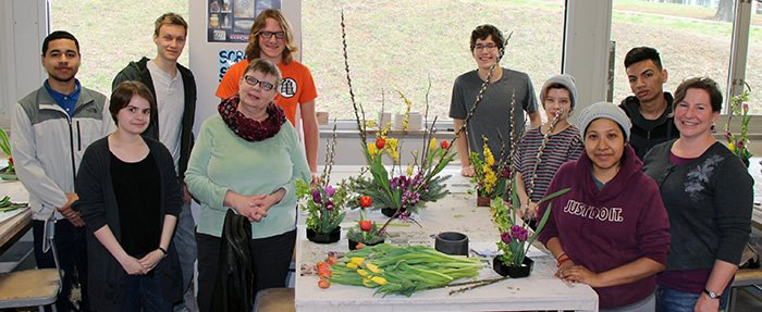 Humanities 216 class learned about ikebana, the Zen art of flower arranging
