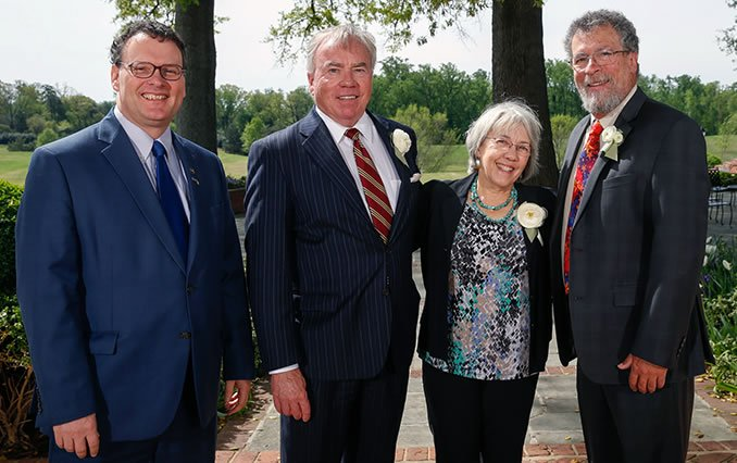 (left to right) BRCC President, Dr. John Downey; VCCS Chancellor Dr. Glen Dubois; Carol and Fred Showker