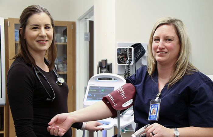 Alison Wilkins (l) with Melissa Lambert, WCE Healthcare Instructor